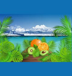 Summertime tropical fresh fruits vector