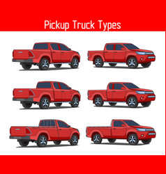 Truck pickup types template drawing set vector