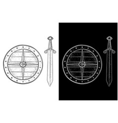 viking shield and sword hand drawn sketch black vector image vector image