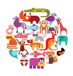 zoo animals round vector image vector image