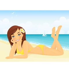 Happy girl on beach vacation vector