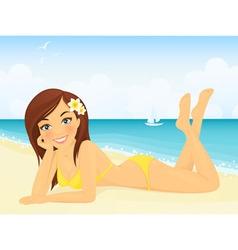 Happy girl on beach vacation vector image