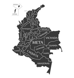 Colombia map labelled black vector