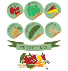Vegetables labels preview vector