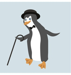 Old fashioned dancing penguin in comic hat vector