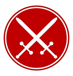 Crossed swords button vector
