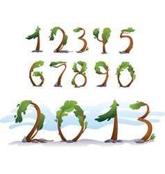 Tree number on white background vector