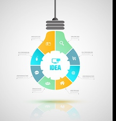Bulb business concepts with icons can use for info vector