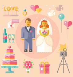 Wedding flat vector