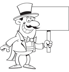 Cartoon magician holding a sign vector