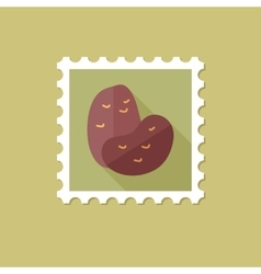 Potato flat stamp with long shadow vector