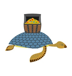 Water turtle and treasure chest marine reptiles vector