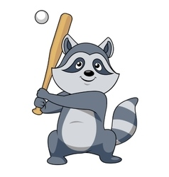 Cartoon raccoon baseball player character vector