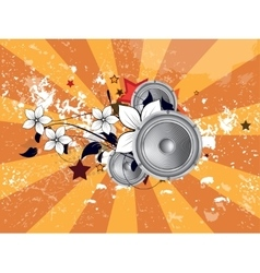 Abstract musical floral background vector
