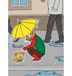 Girl and homeless cat in rain vector