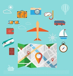 Colorful summer holiday travel planning icon set vector