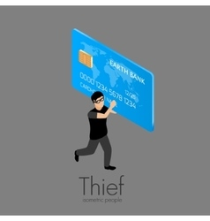 Thief running with credit card vector