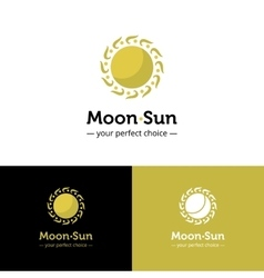 Creative sun and moon logo golden color vector