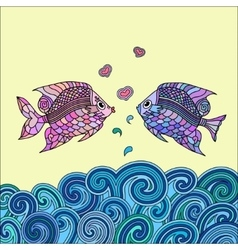 Pair of fish in love vector