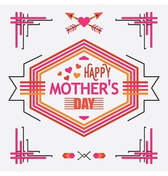 Pink happy mothers day line decoration message vector