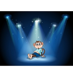 A monkey having a stomach ache with spotlights vector image