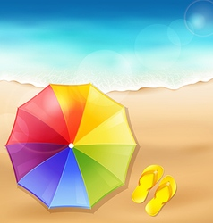 Beach umbrella on the sand vector image vector image