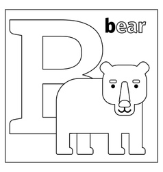 Bear letter b coloring page vector
