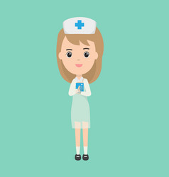 Beautiful nurse character and patient book vector