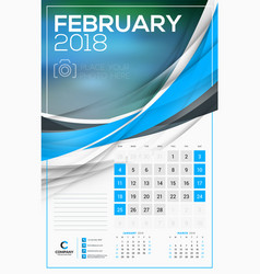 calendar template for 2018 year february design vector image vector image