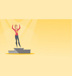 Caucasian sportswoman celebrating on winner podium vector