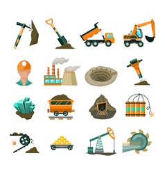 Coal mining equipment flat icons set vector image vector image