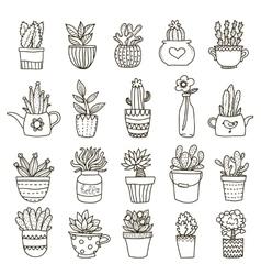 Domestic Plants Icon Set vector image vector image