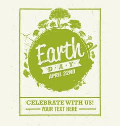 earth day eco green poster design organic vector image vector image