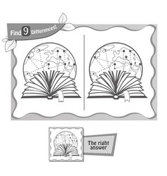 Find 9 differences game black reading book vector