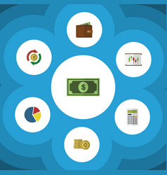 Flat icon finance set of interchange cash vector