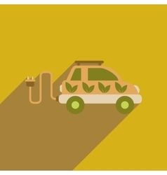 Flat web icon with long shadow electric vehicle vector