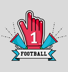 Football message in the ribbon with glove and vector