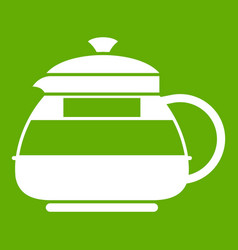 glass teapot icon green vector image vector image