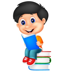 Little boy reading book vector image