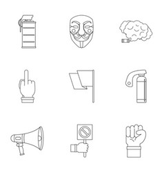 Revolt aggression icon set outline style vector