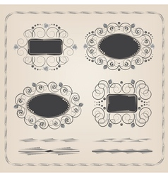 Set of calligraphy frames and brushes vector image vector image