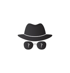 Strange person in a hat and dark glasses vector