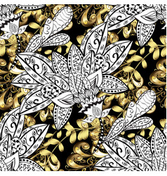 Stylish graphic pattern floral pattern golden vector