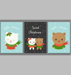 sweet christmas and hello winter vector image vector image