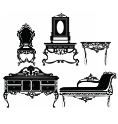 Vintage baroque furniture set vector