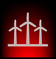 Wind turbines sign postage stamp or old photo vector