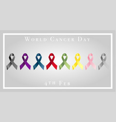 World cancer day with ribbons vector