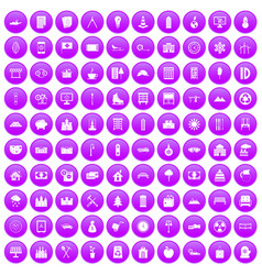 100 villa icons set purple vector