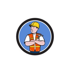 Builder Carpenter Folded Arms Hammer Circle vector image