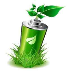 Ecology battery with leaves vector